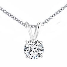 0.85 ct ROUND CUT Solitaire diamond pendant 14k White gold W/CHAIN  D SI1 18 ""
