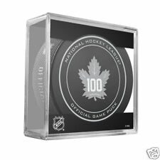 "Toronto Maple Leafs 100th Anniversary Official Game Puck w/Cube ""Bower, Gilmour"""