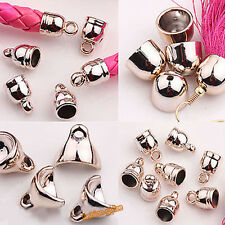 Wholesale Rose Gold Plated Leather Cords Metal Bead End Caps Jewelry Finding DIY