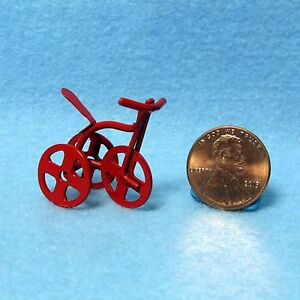 Dollhouse Miniature Metal Baby Childs  Small Toy Tricycle in Red IM65151