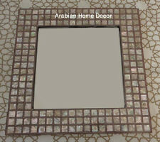 Handcrafted Egyptian Mother of Pearl Inlaid Square Wood Mirror Frame