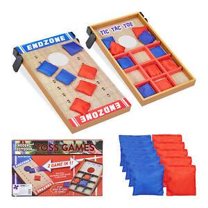 Wurfspiel Set 2 in 1 Geschicklichkeitsspiel Cornhole Board Bean Bag Tic Tac Toe