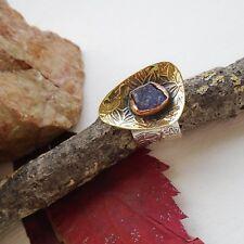 Tansanit Druse,blau, vergoldet, Design Ring, Ø 17,25 mm, 925 Sterling Silber neu