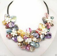 """Gorgeous New Multicolor Baroque Shell Pearl Five Flowers Bloom Bid Necklace 18"""""""