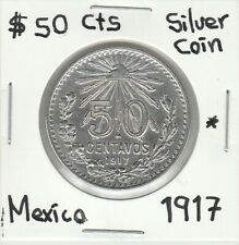 """Mexico: $ 50 Cts Super Nice Silver Coin Year """" 1917 """""""