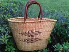 SALE! Handmade BOLGA Market Basket from Ghana w/ Leather Handle