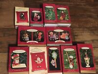 Lot of 11 Vintage Hallmark Christmas Ornaments Hershey Coach Sports Santa Mouse