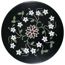 "18""x18"" Design Round Black Marble Table Top Inlay Home Decor"