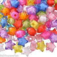L/P Großverkauf Mix Klar Acryl Sterne Spacer Perlen Beads für Armband 12x11mm