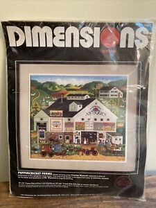 """SEALED Dimensions Charles Wysocki Crewel Embroidery Kit """"PEPPERCRICKET FARMS"""""""
