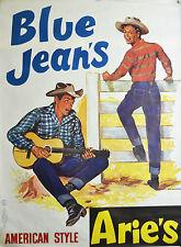 Affiche originale ancienne années 60 - jeans ARIES - 120 x 160 cm