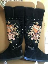 Rare Ed Hardy Love Kills Slowly Vintage Black Suede Boots With Fur
