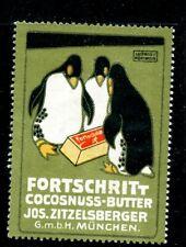 Germany Cinderella Bird ~1912 Fortschritt Butter Hohlwein Munich Penguins