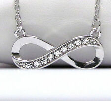 NEW CRYSTAL & SILVER INFINITY SIGN SYMBOL LOVE PENDANT NECKLACE WHITE GOLD PL.