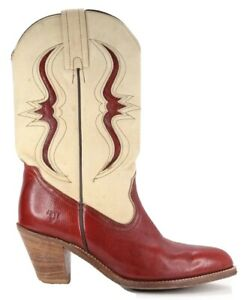 Frye Vintage Women's Red Reptile & Cream Leather Cowgirl Boots 10B