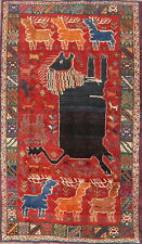 Tribal Animal Theme Abadeh Area Rug Pictorial Hand-Knotted Oriental Carpet 5'x8'