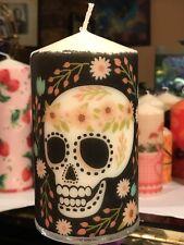 SUGAR SKULL (Floreale) Giorno dei Morti decorato a mano pilastro candela 15x7cm