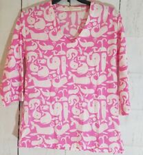 Tracy Negoshian Tunic Pink and White Size Small With Whales 3/4 sleeves womens