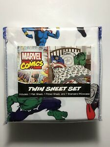 MARVEL COMICS- TWIN SIZE SHEET SET- NEW- 3 PIECE SET- 100% POLYESTER