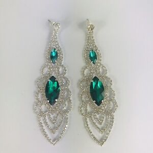 Diamante Silver Tone Faux Emerald Dangle Statement Earrings Costume Jewellery