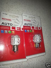 MICHIBI 1156 12V AMBER LED AUTO GLOBE NEW TWIN PACK (1 PAIR) 180° PINS BA15S
