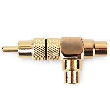 Dynavox Cinchkupplung vergoldet, 1 x Stecker, 2 x Buchse, Cinch Kupplung Schwarz