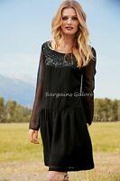 Ladies NEXT Chiffon Dress Sequin Boho Vintage Party Shift Tea Size 8 10 12 TALL