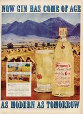1951 Seagrams Ancient Gin Glass Bottle PRINT AD