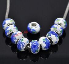 2pz  perline in ceramica  e argento 925 ,13x10mm fiore blu