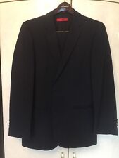 Hugo Boss Red Label Mens Suit 40L Dark Blue W/black Stipes Slim Fit