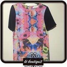 FINDERS KEEPERS Black Print Summer Shift Dress Size 6 (C 15)