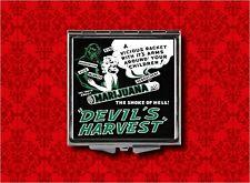 DEVIL'S HARVEST PIN UP GIRL DEVIL DRUGS PULP FICTION POT MAKEUP COMPACT MIRROR