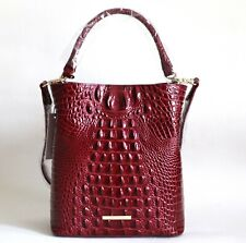 NWT BRAHMIN AMELIA TEXTURED LEATHER BUCKET SHOULDER BAG CRANBERRY