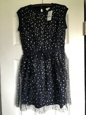 Nwt J.Crew Crewcuts Girls Navy Blue Sleeveless Sparkle Stars Tulle Dress Size 7