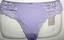 NEW M&S WOMAN SIZE 12 MICROFIBRE HIGH RISE THONG KNICKERS WITH LACE TRIM