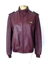 Vgc Vtg 80s Aigner Oxblood Burgundy Leather Menswear-Style Bomber Jacket Coat 10