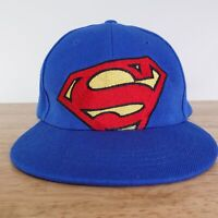 SUPERMAN LOGO DC COMICS SIX FLAGS BLUE HERO FLAT BRIM SNAPBACK BASEBALL HAT
