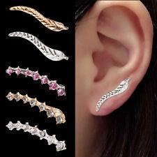 Fashion Women Crystal Drop Sterling Silver Ear Hoop Stud Earrings Jewelry Gifts