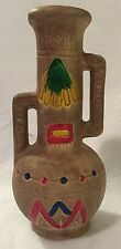 Vintage Fairway Colorful Chalk Chalkware Indian Symbols Vase Japan