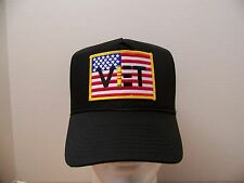#1032 Viet Vet US Flag Ball Cap Hat, Black