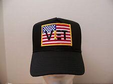 #1032 Viet Vet US Flag Ball Cap Hat, Black