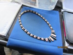 VINTAGE STERLING SILVER RARE 950 ONYX BANDED PINK AGATE LINKS CHOKER NECKLACE