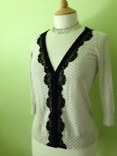 Oasis Ivory Black Lace Trim Polka Dot Delicate Fine Knit Victorian Cardigan S