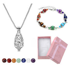 Fashion Hollow Locket Pendant Necklace Chakra Stone Bracelet Set Jewelry Gifts