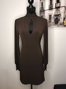 Supre Stretch Brown Collar Backless Short Dress Size S