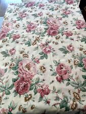 New Twin flat bed sheet pink red rose floral design Royal Family Cotton Fortrel