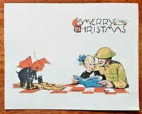 Vintage Antique Over 100 year old Merry Christmas blank Post Card - Date Stamped