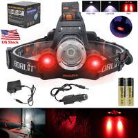 BORUiT 30000Lm XML T6 3 LED Headlamp Hunting Head Bike Light Torch 18650 Charger