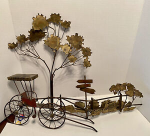 C. Jere Rare Double  Signed Carriage Horse Buggy & Tree Wall Sculpture Mid Cent