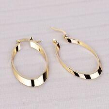 18K Gold Filled Flat Oval Teardrop Dangle Hoop Earrings Women Bridal Jewellery